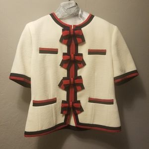 Guccii Wool Jacket with Web bows and pink silk lin